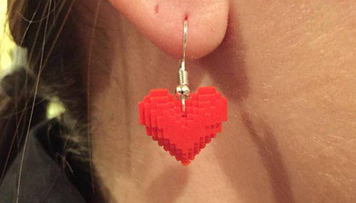 8 Bit Pixel Heart Earrings